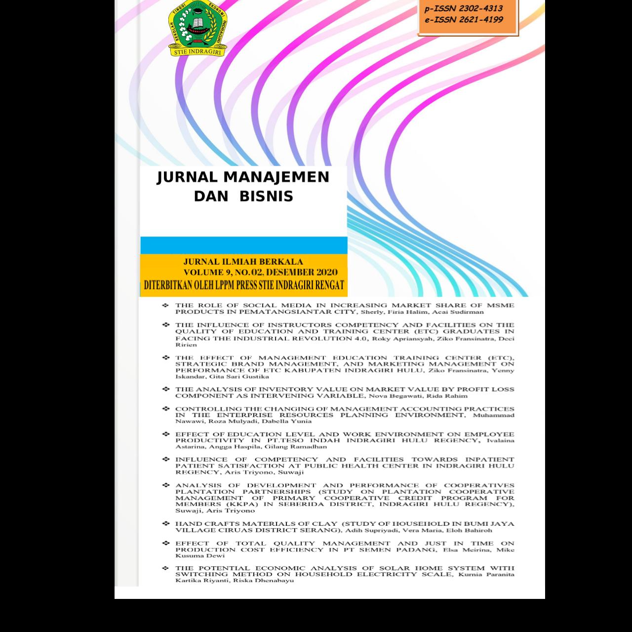 View Vol. 9 No. 2 (2020): JURNAL MANAJEMEN DAN BISNIS (TERBIT DESEMBER 2020)